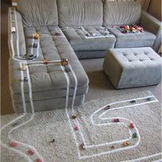 Masking tape and toy cars - DIY Awesome
