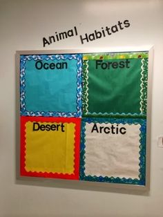 Divide a bulletin board up into the four main animal habitats. Choose an appropriate boarder. Have students draw their favorite wild animal on a piece of paper and have them place it in the correct habitat. First Grade Science, Kindergarten Science, Elementary Science, Science Classroom, Teaching Science, Science Activities, Classroom Activities, Teaching Habitats, Preschool Bulletin