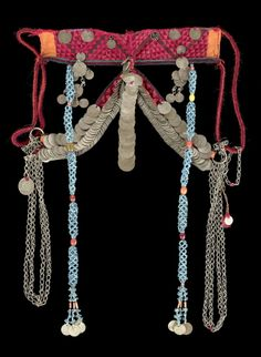 Israel | Face veil from the Azâzma nomad people of the Negev region | Textiles, silver toned metal, beads