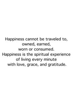Happiness is the spiritual experience of living every minute with love, grace, and gratitude.