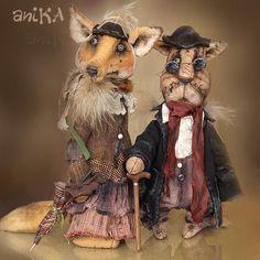 Купить Лиса Алиса и Кот Базилио - алиса, Базилио, кот, лиса, оранжевый, плюш, опилочки