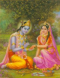 Shri Krishna is Lovingly drawing mehendi designs on Shrimati Radha Rani's hands. Afterwards, He Himself will thoughtfully perform all of Her tasks while Her mehendi dries. Heis kindenough to do everything from moving Her hair away from her radiant face, to fetching Her gatham. He cares.  Similarly, the World draws its mehendi designs on our hands…but this mehendi never dries. We are under the illusion that it does, which is why we never accept Shri Krishna's help throughout ou