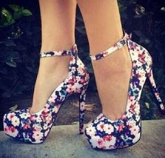 Cute ankle strapped floral pumps