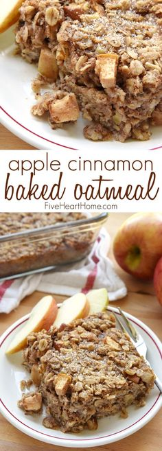 Apple Cinnamon Baked Oatmeal ~ loaded with tender apples, spiced with warm cinnamon, and lightly sweetened with maple syrup, this wholesome breakfast is sure to become a new fall favorite! | FiveHeartHome.com #breakfast #recipes #brunch #easy #recipe