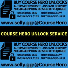 Course Hero Unlock Service - Buy Course Hero Unlocks - Automated Course Hero Unlocker - Instant 24/7 Delivery - http://selly.gg/@CourseHero