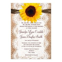 Rustic Burlap Lace Twine Sunflower Wedding Invites.  Invitations are discount sale priced 40% OFF when you order 100+ Invites. #wedding  http://www.zazzle.com/rustic_burlap_lace_twine_sunflower_wedding_invites-161054722589913759?rf=238133515809110851&tc=PinterestMsPlnr