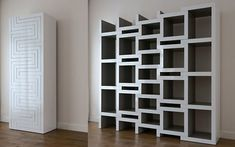 REK expandable bookcase, £TBC, Reinierdejong.com. REK is a bookcase that grows with your book collection. The more books the bigger the bookcase gets. The zigzag shaped parts slide in and out to accommodate books in the resulting voids. Also the books can be arranged according to their sizes.