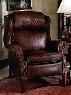 Vintage Bradington Young Green Leather Recliner | Show Details For  Chippendale Wingback Recliner