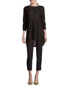 -6X70 Eileen Fisher  Textured Organic Linen Bateau-Neck Tunic Washable Stretch-Crepe Slim Ankle Pants