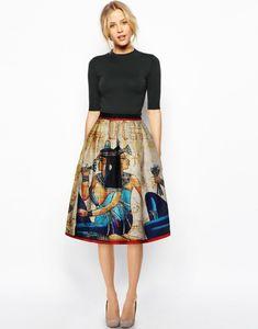 5eca82164b 2017 new arrival women fashion pleated midi skirts Egypt retro pattern  print pleated high waisted Harajuku vintage tutu skirt
