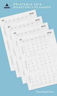 Plan Ahead / Keep Track - 2018 Planner, Paper Organization, Design Shop, Track, Greeting Cards, Typography, Bullet Journal, Notes, Printables
