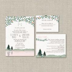 Watercolor Mountain Wedding Invitation Suite DEPOSIT - DIY - Rustic, Woods, Woodland, Hipster, Spring, Summer, Lake (Wedding Design #54)