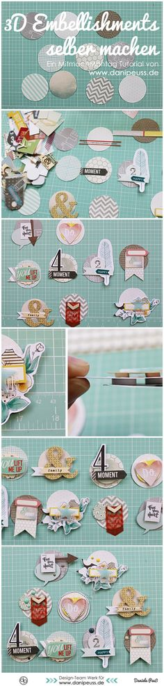 DIY Scrapbooking Embellishments - MitmachMontag Tutorial www. Ideas Scrapbook, Scrapbook Cards, Pocket Scrapbooking, Scrapbooking Layouts, Project Life, Diy 3d, Diy Papier, Candy Cards, Pocket Letters