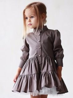 Beautiful fashion little girl in a gray dress adorable girl fashionkids salvabrani Fashion Kids, Little Girl Fashion, Trendy Fashion, Little Girl Dresses, Girls Dresses, Dresses Dresses, Toddler Outfits, Girl Outfits, Mode Lolita
