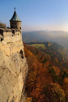 """Königstein Fortress (German: Festung Königstein), the """"Saxon Bastille"""", is a hilltop fortress near Dresden, in Saxon Switzerland, Germany."""