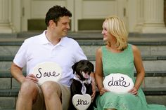 Save the Date with dog (photo courtesy of Matt Bonham Photography).