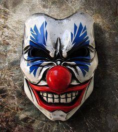 Bozo Mask 211 - Mean Clown Fiberglass Mask Costume