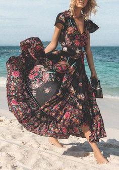2573b4ff05d6 Black Floral Drawstring Slit Flowy Deep V-neck High Waisted Boho Mexican Maxi  Dress