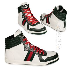 timeless design 408ff 169d2 Gucci High Tops, Gucci Men, Gucci Shoes, White Sneakers, Lace Up Shoes