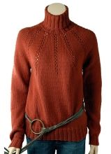 Pilar is an exquisite turtleneck pullover. At the yoke, bands of eyelet detailing radiate from the neckline. - from Berroco