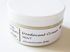 Natural Deodorant Cream Aluminum free by OneGreenIdea on Etsy, Natural Deodorant, Corn Starch, Baking Soda, Coconut Oil, Essential Oils, Mint, Jar, Free, Glass