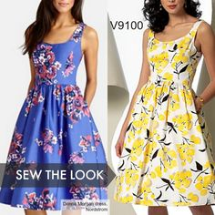 Sew the look: If you need a dress for weddings or other summer events, this Vogue Patterns sundress is the way to go. Look for the prettiest floral prints you can find. V9100 sundress