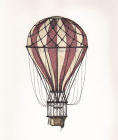 """One of my illustrations which I used to create the pattern """"For Sailors, Balloonists and Travelers"""" Ink and watercolor on paper Sailors, Balloons, Sketches, Illustrations, Watercolor, Ink, Create, Paper, Drawings"""