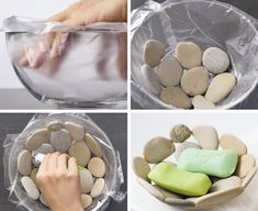 Easy Rock Soap Dish – Made By Barb – simple pour and set project Beach Crafts, Diy Home Crafts, Crafts To Sell, Diy Home Decor, Sell Diy, Decor Crafts, Diy Decoration, Pierre Decorative, Stone Bowl