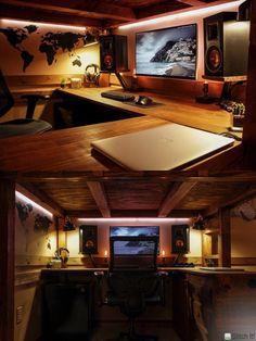 Computer Desk Setup, Gaming Room Setup, Gaming Desk Bed, Pc Setup, Gaming Computer, Home Office Setup, Home Office Design, Mac Desk, Video Game Rooms