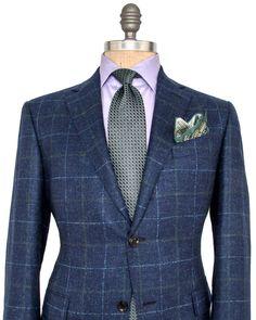 Ermenegildo Zegna Blue with Green and Blue Windowpane Sportcoat 2 button…