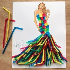 Drinking straws couture Guys we are It's un… – Fashion World Fashion Design Drawings, Fashion Sketches, Fashion Art, Ladies Fashion, Straw Art, Fashion Illustration Dresses, Illustration Mode, Illustrations, Dress Drawing