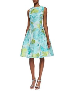 Sleeveless Floral Print Cocktail Dress, Aqua/Green by Carmen Marc Valvo at Bergdorf Goodman.