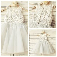 A-line Knee-length Flower Girl Dress - Lace / Tulle Sleeveless Jewel with 2017 - $54.99