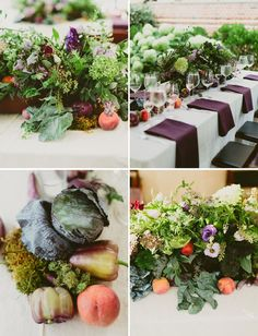 Centerpieces with farmer's market fruit and vegetables