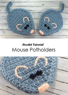 icu ~ Crochet Mouse Potholders in 2020 Crochet Applique Patterns Free, Crochet Patterns For Beginners, Crochet Mouse, Crochet Baby, Crochet Potholders, Crochet Kitchen, Crochet Animals, Crochet Hooks, Crochet Projects