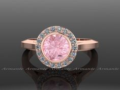 Morganite Vintage Ring, Rose Gold Vintage Style Diamond Engagement Ring 14K Rose Gold by Armante on Etsy