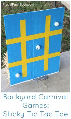 Backyard Carnival Games for Kids - Sticky Tic Tac Toe game. Throw the ping pong balls and they stick to the board fun night Backyard Carnival Games for Kids: Sticky Tic Tac Toe - Frugal Fun For Boys and Girls Carnival Games For Kids, Carnival Themes, Games For Teens, Carnival Activities, Youth Activities, Summer Activities, Carnival Party Games, Olympic Games For Kids, Carnival Spirit