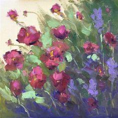 "Daily Paintworks - ""In a Friends Garden"" - Original Fine Art for Sale - © Victoria  Biedron"