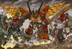Predaking litho by *GuidoGuidi on deviantART - Predaking, Defensor, and Superion - Transformers