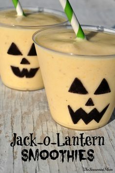 Jack-O-Lantern Smoothies are a fun, festive, and healthy Halloween breakfast or snack for your little ones!