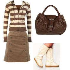 adorable in brown  - not so much the boots though :} I can see a pair of cream or brown ballet flats going well with this outfit.