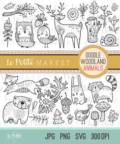 Cute Doodle Woodland Creature Clipart, Forest Animal Clipart, Woodland Digital Stamps, Bird Owl Deer Bear Raccoon Fox Clip Art