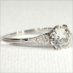 Antique Edwardian 1.4ct Diamond Solitaire Ring in Platinum, European c. 1915