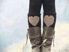 Beige Black Short Heart Knit Boot Cuffs. Love by EmofoFashion, $28.00