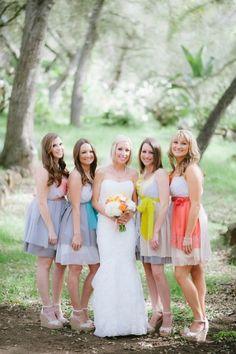 Unique custom bridesmaids dresses by Armour sans Anguish.