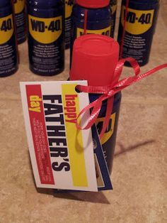 WD40 for Father's Day Pop By.  The tag says: Hope your day goes SMOOTHLY. And if I can help you or your friends SLIDE EASILY thru their next real estate transaction, call me!  maryspopbyideas.blogspot.com                                                                                                                                                                                 More