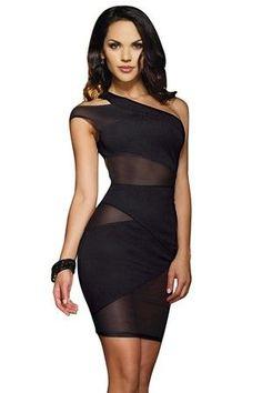 effb3c7d54f Mesh One Shoulder Dress 8715 Dreamgirl Black Xtra Large