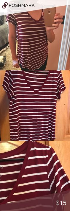 American Eagle Red & White Stripes Flowy Top American Eagle Red & White Stripes Flowy Top - part of the Soft & Sexy line, very nice quality shirt! Can be worn in every season, pair with shorts, jeans, a scarf, sandals, boots, works with everything! 95% viscose. 5% elastane. 20% off any bundle of 2 or more items in my closet! Make me an offer! American Eagle Outfitters Tops Tees - Long Sleeve