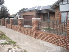 driveway concrete or brick fence first? Brick Fence, Fence Ideas, Railings, Fences, Gates, Concrete, Outdoor Decor, Wall, Image