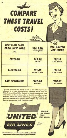 Vintage United Air Lines Ad - 1953 - definitely should have been born in this time!
